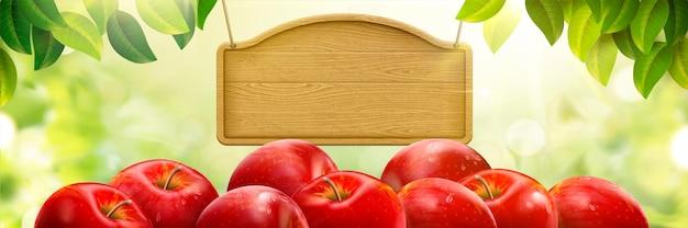 Fundo de maçã fresca natural, frutas deliciosas com placa de madeira em branco isolada em fundo verde bokeh, ilustração 3d