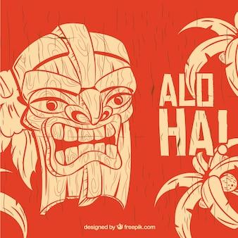 Fundo de madeira aloha com máscara tiki desenhada a mão