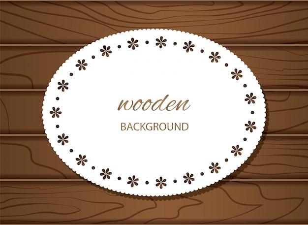 Fundo de madeira com moldura de guardanapo.