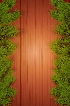 Fundo de madeira de natal com abeto spruce com espaço para texto.