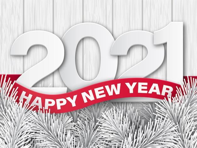 Fundo de madeira e uma fita vermelha com o texto feliz ano novo