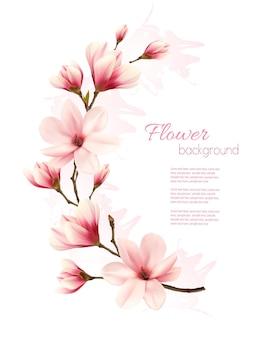 Fundo de magnólia rosa linda. vetor.