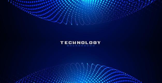 Fundo de malha circular de pontos de partículas digitais azuis