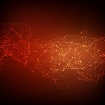 Fundo de malha vermelha do vetor abstrato. pontos cósmicamente conectados e polígonos que voam no espaço. restos voadores. cartão futurista de estilo tecnológico. linhas, pontos, círculos e aviões. design futurista.