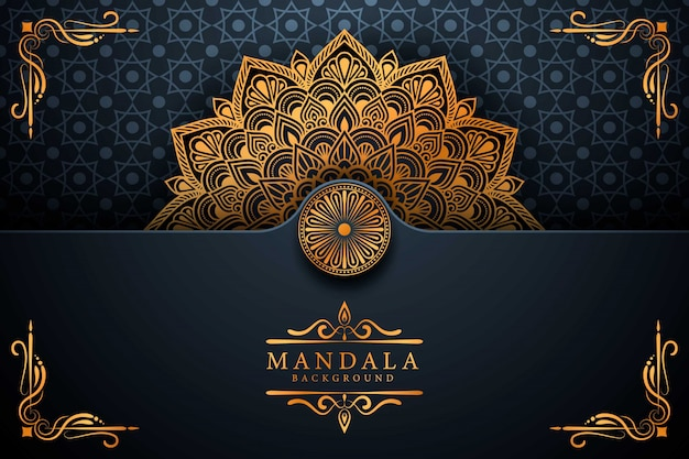 Fundo de mandala de luxo arabesco dourado