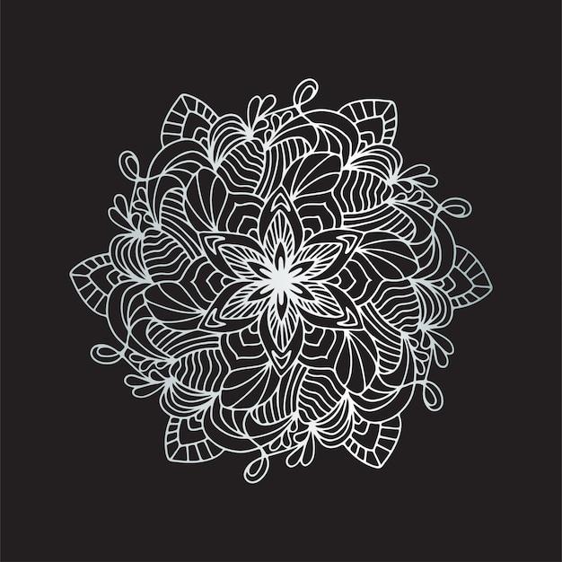 Fundo de mandala de luxo com arabescos de prata