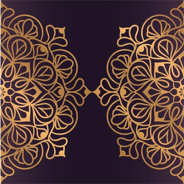 Fundo de mandala de luxo com arabescos dourados, ornamento de vetor oriental. padrão étnico de renda