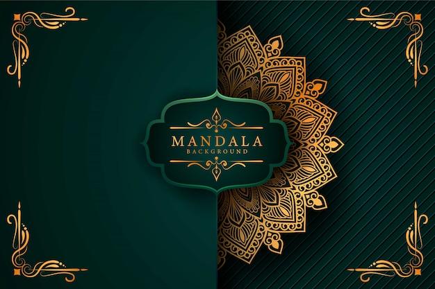 Fundo de mandala de luxo com arabescos dourados