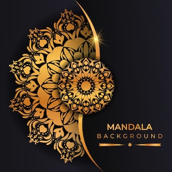 Fundo de mandala de luxo com cor dourada de estilo árabe