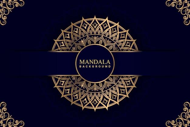Fundo de mandala de luxo com cor dourada premium vector