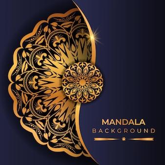 Fundo de mandala de luxo com cor dourada