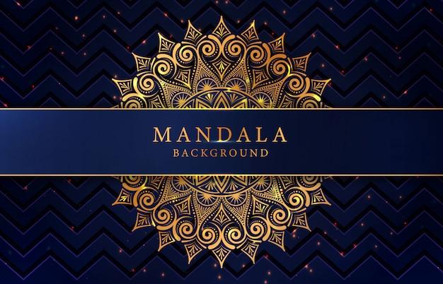 Fundo de mandala de luxo com decoração arabesco dourado