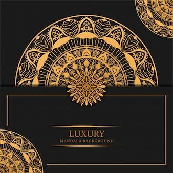 Fundo de mandala de luxo com design islâmico árabe de padrão de arabesco dourado