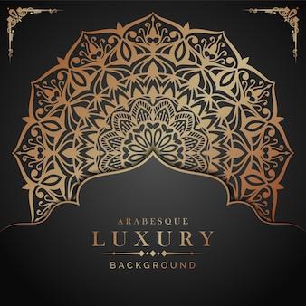 Fundo de mandala de luxo com estilo arabesco dourado