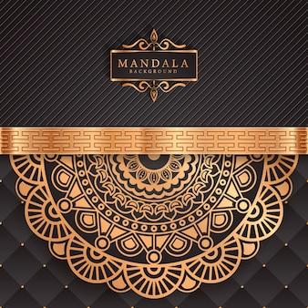 Fundo de mandala de luxo com estilo oriental de padrão arabesco dourado