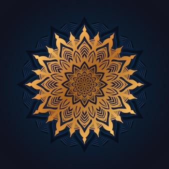 Fundo de mandala de luxo com estilo oriental islâmico árabe de arabesco dourado