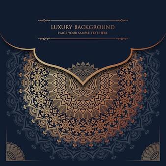 Fundo de mandala de luxo com estilo oriental islâmico árabe de padrão de arabesco dourado