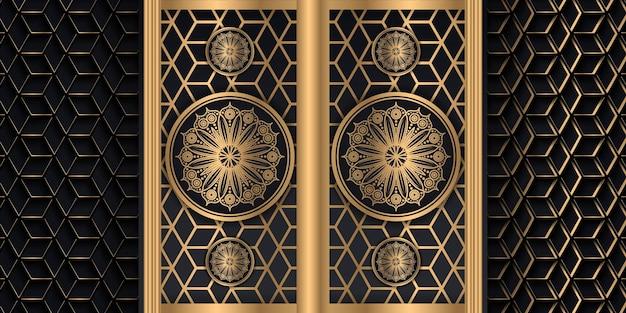 Fundo de mandala de luxo com ilustração em vetor leste árabe islâmico padrão dourado.