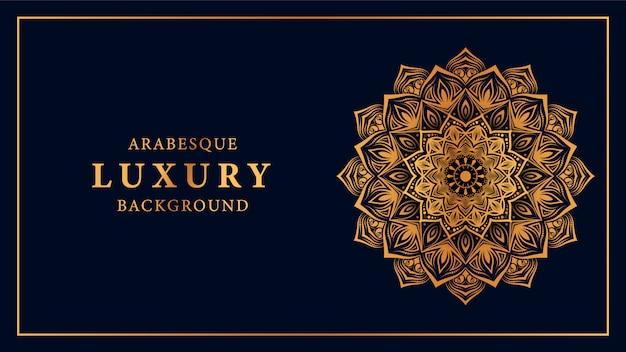 Fundo de mandala de luxo com padrão de arabesco dourado de estilo árabe