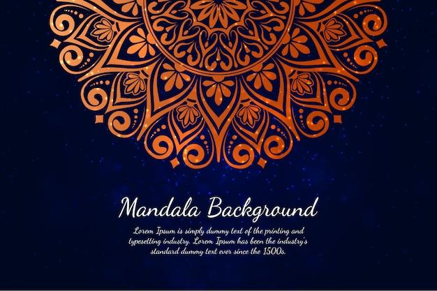 Fundo de mandala de luxo com padrão de arabesco dourado estilo oriental islâmica árabe
