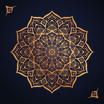 Fundo de mandala de luxo com padrão de arabesco dourado