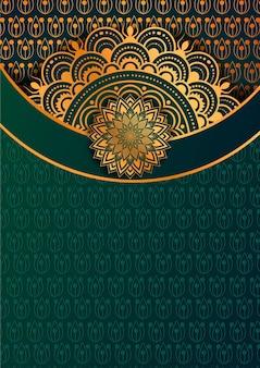 Fundo de mandala de luxo com padrão de arabescos de combinação de dourado e vermelho