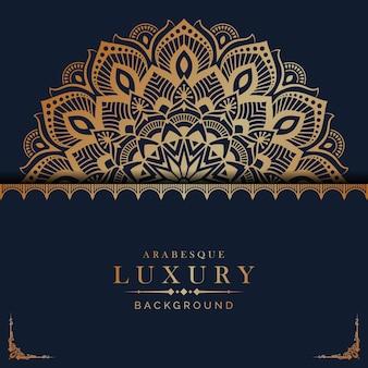 Fundo de mandala de luxo com padrão de arabescos dourados em estilo árabe islâmico oriental