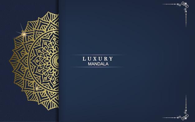Fundo de mandala de luxo com padrão de arabescos dourados estilo árabe islâmico oriental