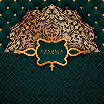 Fundo de mandala de luxo com padrão de arabescos dourados