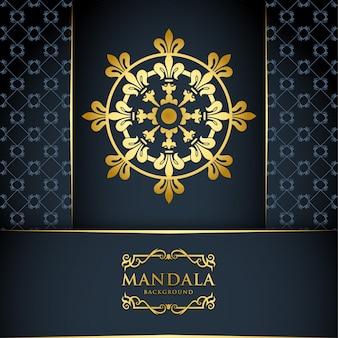 Fundo de mandala de luxo com padrão de ornamento de ouro, estilo árabe islâmico.