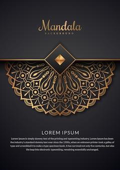 Fundo de mandala de luxo com padrão floral dourado