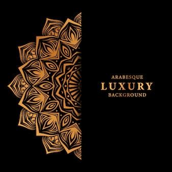 Fundo de mandala de luxo com padrão islâmico de arabesco dourado