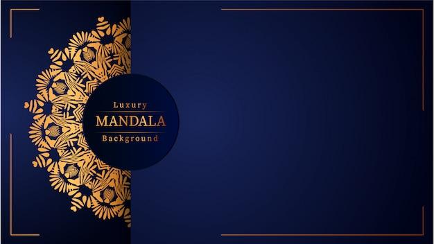 Fundo de mandala de luxo criativo com padrão de arabesco dourado
