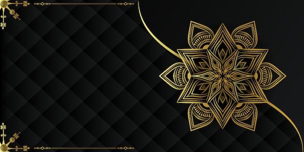 Fundo de mandala de luxo exclusivo com arabescos dourados;