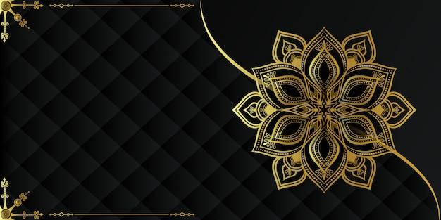Fundo de mandala de luxo moderno com arabescos dourados