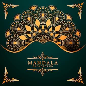 Fundo de mandala de luxo para convite de casamento de capa de livro