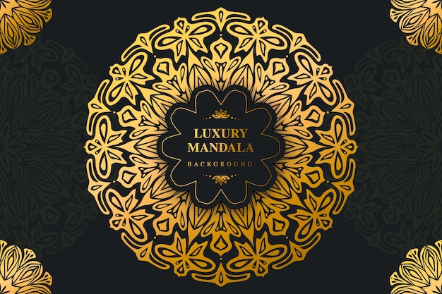 Fundo de mandala de ouro e preto de luxo