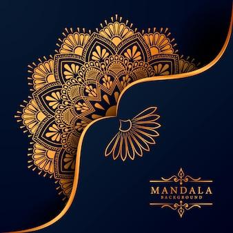 Fundo de mandala de ramadan kareem de luxo cartão