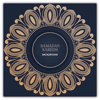 Fundo de mandala do ramadã com cor de luxo ouro
