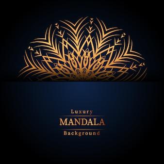Fundo de mandala ornamental de luxo na cor ouro, fundo de mandala de luxo para convite de casamento, capa de livro