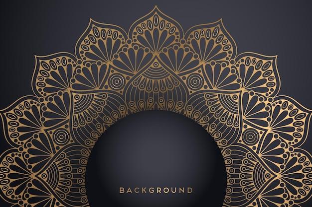 Fundo de mandala ornamental de luxo na cor ouro.