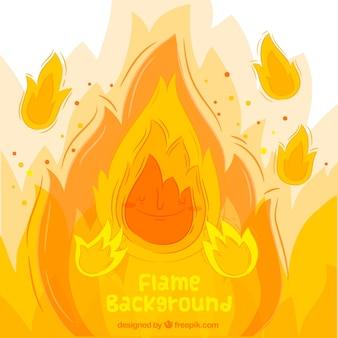 Fundo de mão desenhada chamas