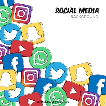 Fundo de mão desenhada com ícones de mídias sociais