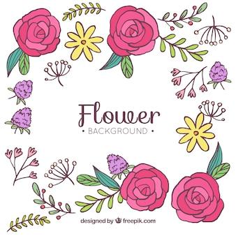 Fundo de mão desenhada com lindas flores