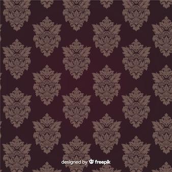 Fundo de mão desenhada com padrão de damasco