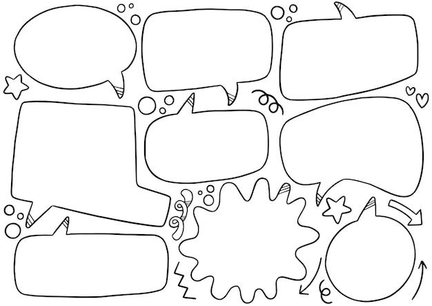 Fundo de mão desenhada conjunto de balão fofo no estilo doodle