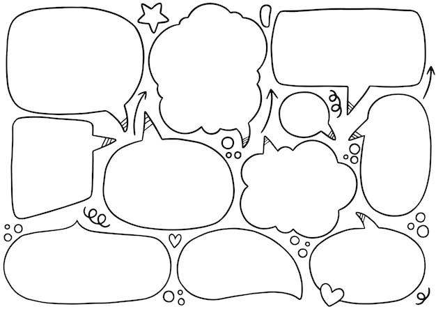 Fundo de mão desenhada conjunto de bolha do discurso em estilo doodle