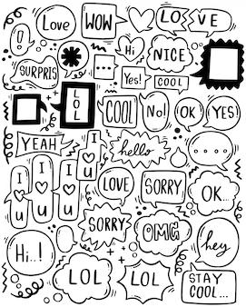 Fundo de mão desenhada conjunto de texto bonito discurso eith bolha no estilo doodle