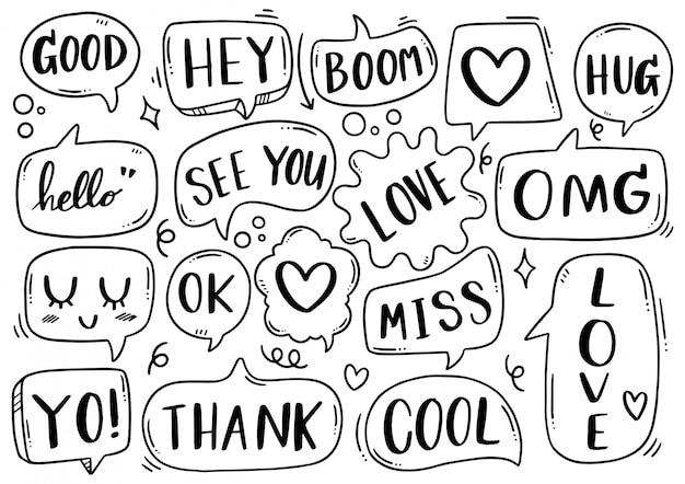 Fundo de mão desenhada conjunto de texto de bolha do discurso bonito no estilo doodle