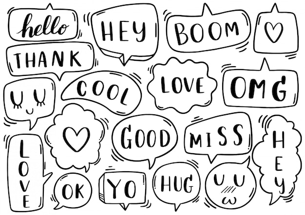 Fundo de mão desenhada conjunto de texto de discurso bonito bolha eith no estilo doodle em abstrato isolado de fundo branco
